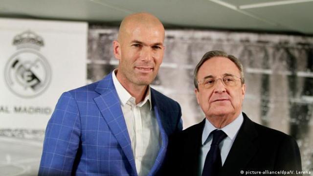 Spanien Zinedine Zidane und Florentino Perez in Madrid (picture-alliance / dpa / V. Lerena)