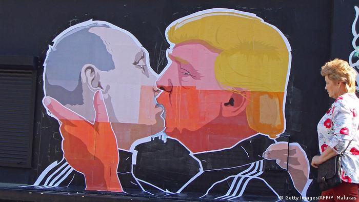 Litauen Graffiti von Putin und Trump (Getty Images/AFP/P. Malukas)