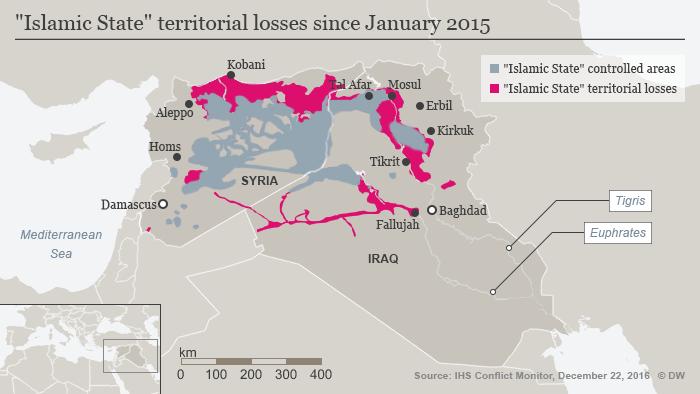 Infografik Map Islamic State territorial losses since January 2015 ENG
