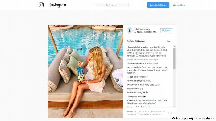 Instagramm Screenshot Pilotmadeleine (Instagram/pilotmadeleine)