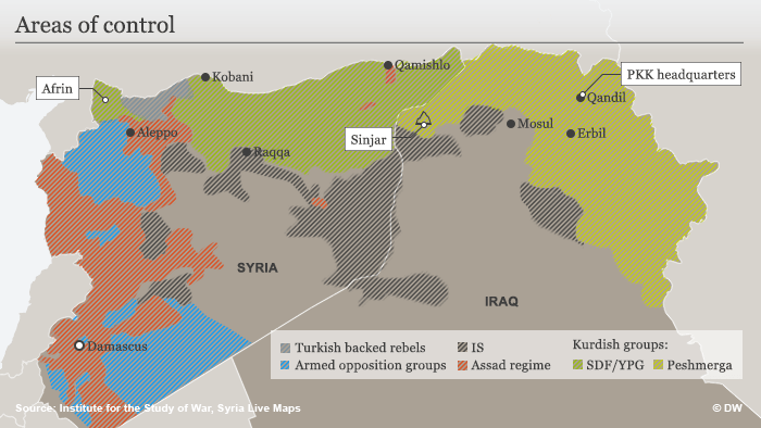 Infographic showing areas in Syria and Iraq controlled by various armed groups