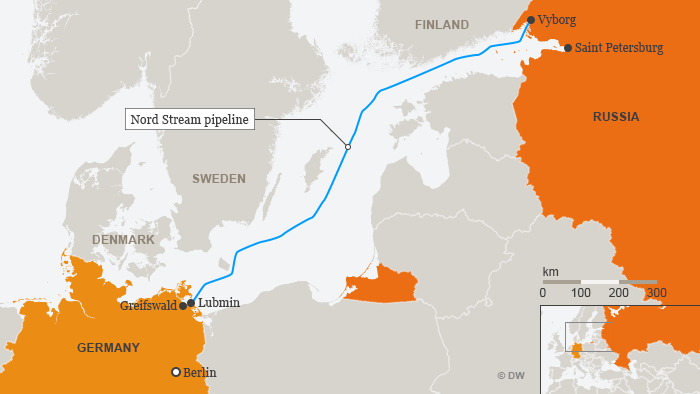 Infographic shows the Nord Stream pipeline running from Vyborg, Russia, to Lubmin, Germany, under the Baltic Sea.