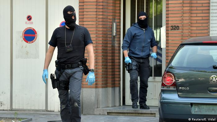 Belgian police outside a house in Brussels
