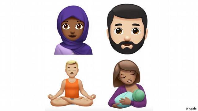 Neue Emojis von Apple: Frau mit Kopftuch, Mann mit Bart, Mann im Lotussitz, stillende Frau. (Foto: Apple)