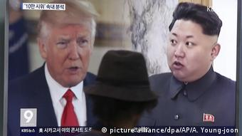 Seoul Donald Trump und Kim Jong Un auf einem Screen (picture alliance/dpa/AP/A. Young-joon)