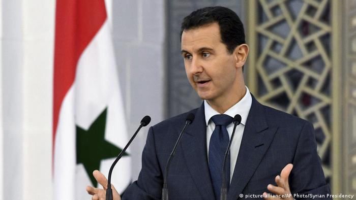 Syrian President Assad speaking to diplomats