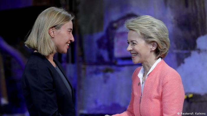 EU foreign policy chief Federica Mogherini with German Defense Minister Ursula von der Leyen (Reuters/I. Kalnins)