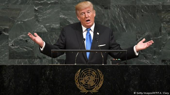 US President Donald Trump addresses the 72nd Annual UN General Assembly in New York (Getty Images/AFP/T.A. Clary)