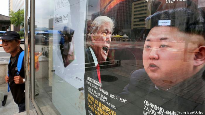 North Korea crisis - pictures of Donald Trump and Kim Jong Un in Seoul (picture alliance / Ahn Young-Joon/AP/dpa)