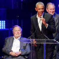 Five US presidents attend relief concert for hurricane victims