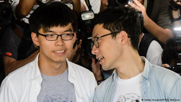 China Studentenführer Joshua Wong und Nathan Law in Hongkong (Getty Images/AFP/A. Wallace)