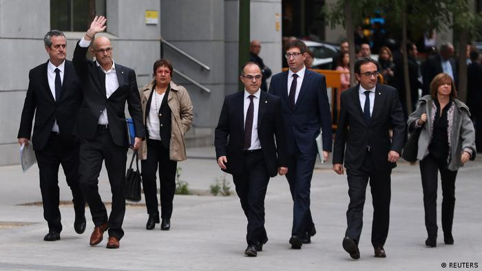 Catalonian cabinet members arrive at court in Madrid