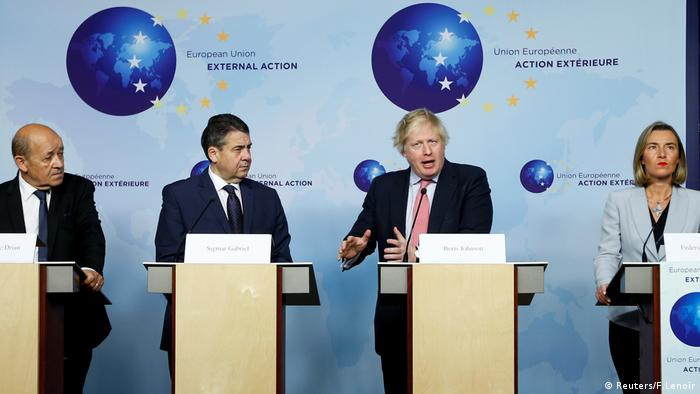 Boris Johnson speaking at a news conference in Brussels (Reuters/F.Lenoir)