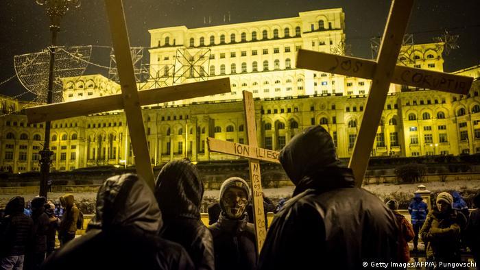 Демонстранти по улиците на Букурещ (20.1. 2018)