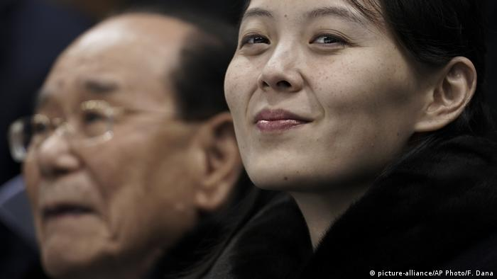 Kim Yo Jong, sister of North Korean leader Kim Jong Un, right, and North Korea's nominal head of state Kim Yong Nam, wait for the start of the preliminary round of the women's hockey game between Switzerland and the combined Koreas at the 2018 Winter Olympics in Gangneung, South Korea