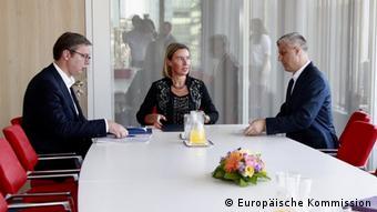 Brüssel EU-Kommission   Hashim Thaci, Federica Mogherini & Aleksandar Vucic (Europäische Kommission)