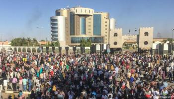 Anti-government protests outside Sudanese military headquarters in Khartoum