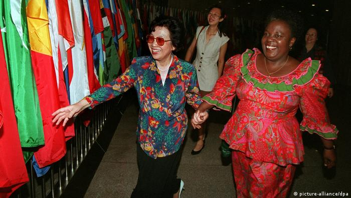 Beijing, World Women's Conference 1995. The Secretary General of the 4th UN World Women's Conference, Gertrude Mongella and the Vice President of the Chinese Promotion of Women, Huang Zhigi, hand in hand