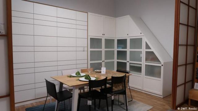 Cabinets and a table at Holzconnection's Berlin showroom