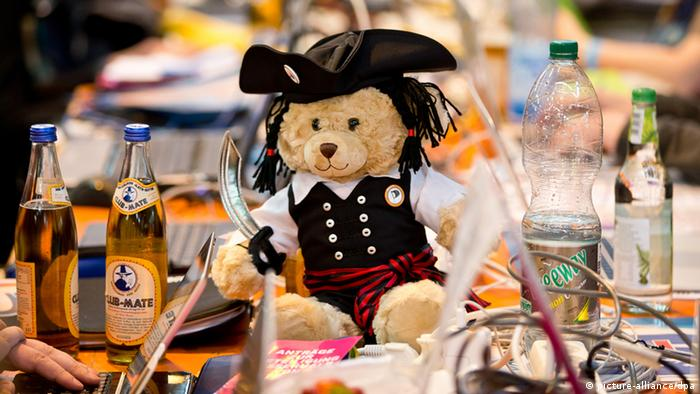 Pirate teddy bear at the German Pirate Party convention