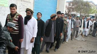 Photo shows the Afghan voters in a polling center in Khost, Afghanistan during presidential and provincial conceals Election on April 5.