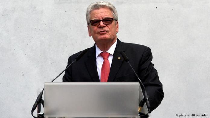 Bundespräsident Joachim Gauck bei der Wiedereröffnung der Meisterhaussiedlung