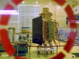 The Chandrayaan 1 spacecraft is unveiled at the Indian Space Research Organization