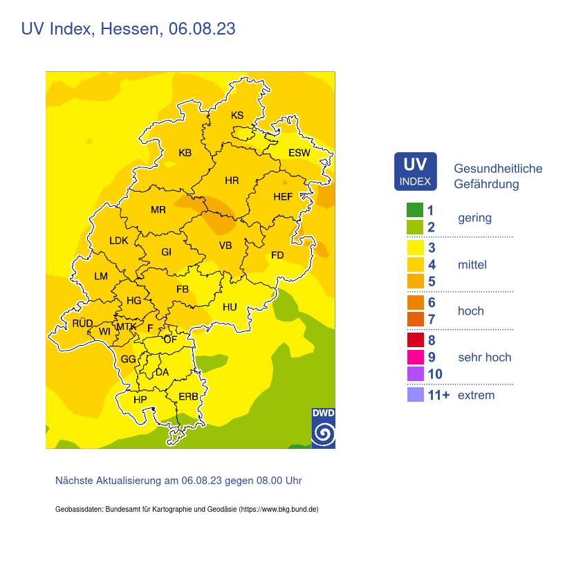 UV Indes Mittelhessen und Rhein Main Gebiet morgen