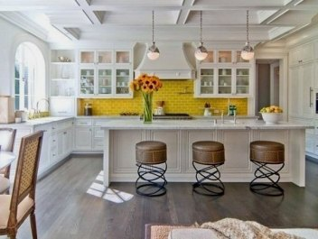 yellow subway tile kitchen