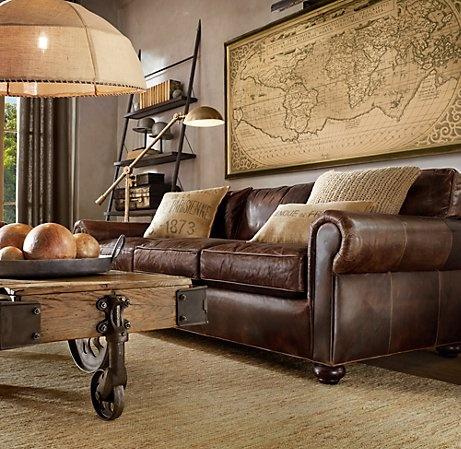 Rustic Industrial Living Room. Leather4 Restoration Hardware