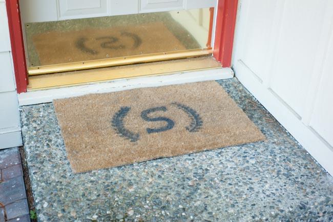 stenciled door mat
