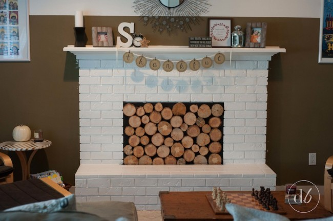 wood slice fireplace facade