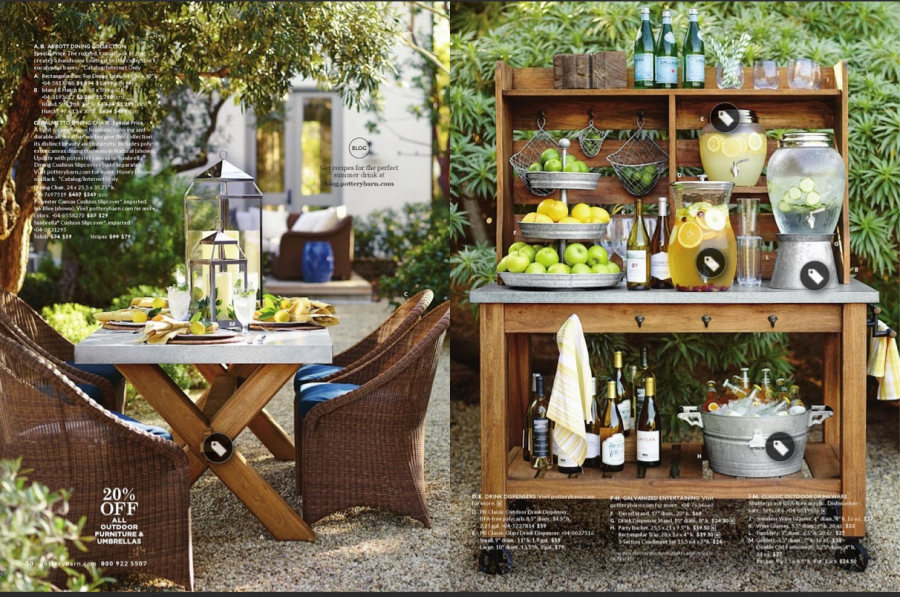 Pottery Barn. I Found This Lovely Spread In Their Online Catalog. I Was  Instantly Drawn Towards Bright Greenery And The Zinc Topped Table And  Outdoor Hutch ...