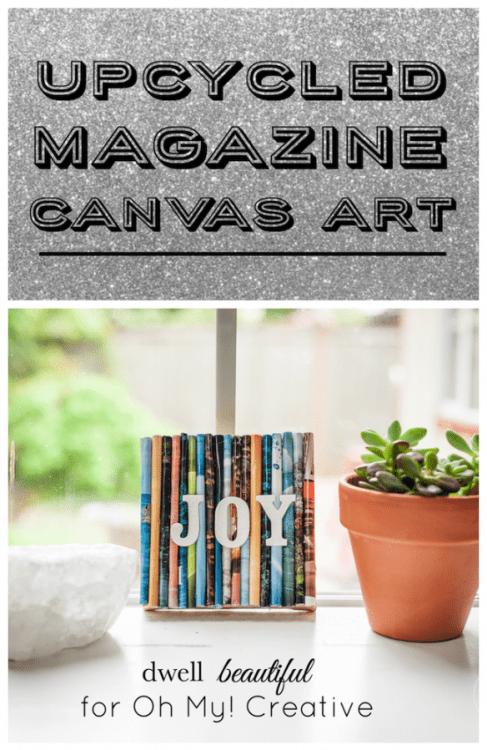 recycled magazine canvas art