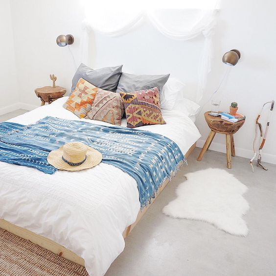 modern bohemian bedroom - indigo