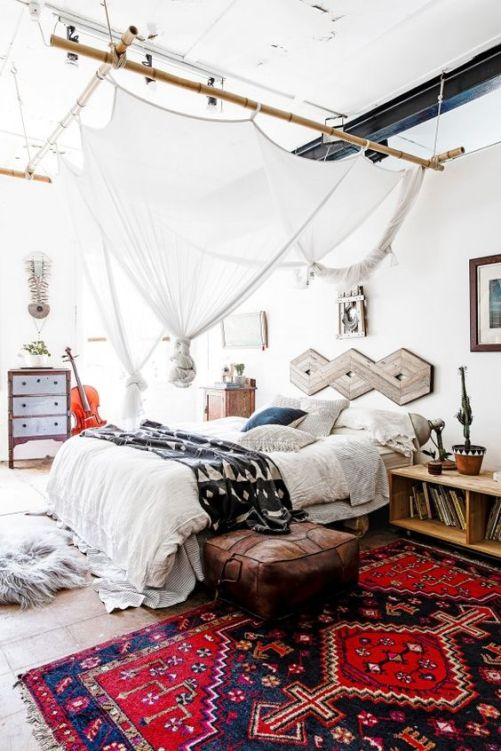 modern bohemian bedroom inspiration - rug