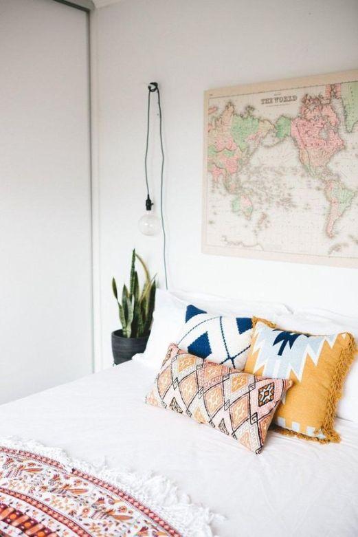 modern bohemian bedroom - map art