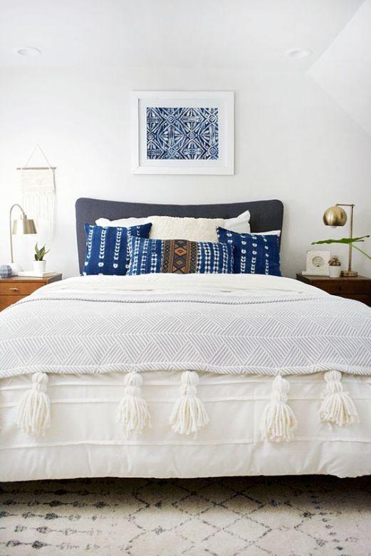 modern bohemian bedroom - indigo pillows