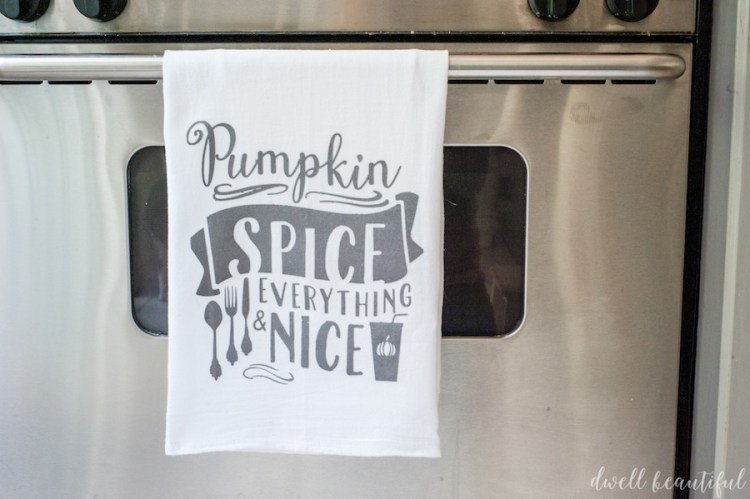 fall pumpkin spice tea towel