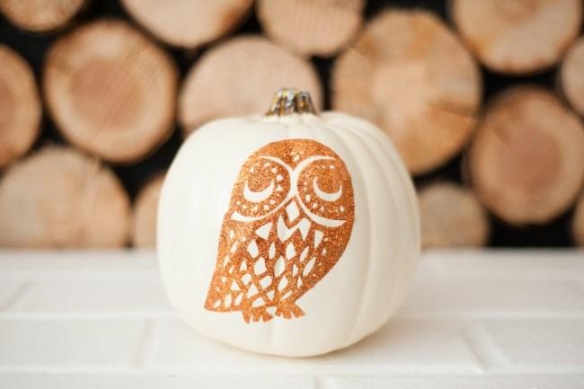 DIY Glitter Owl No-Carve Pumpkin