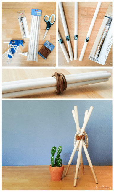 DIY Wooden Dowel Teepee Jewelry Holder