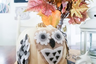 Easy DIY Felt No-Carve Owl Pumpkin