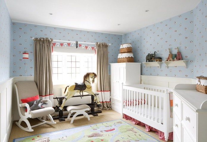 baby-bedroom-decorating-ideas-with-grey-curtains-rocking-horse-toy