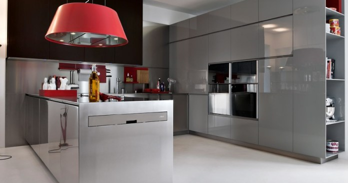 Awesome-Grey-Italian-Kitchen-Design-with-Red-Pop-Lamp