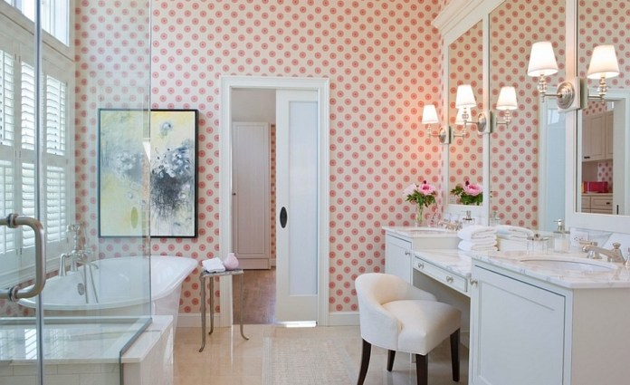Beach-style-bathroom-in-Boston-with-cool-wallpaper