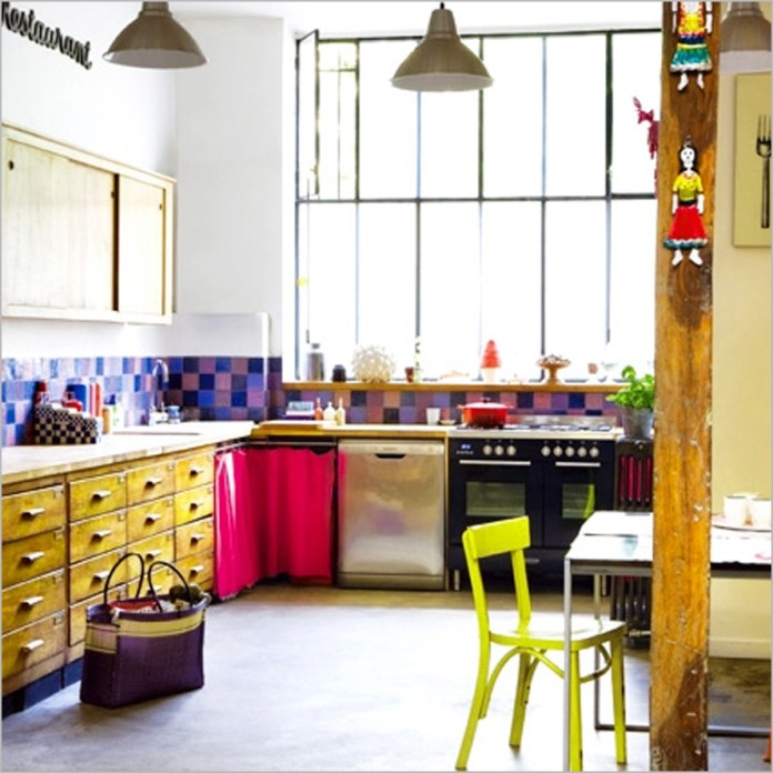 Colorful Kitchen Design Ideas Loft Kitchen With Colorful Accents
