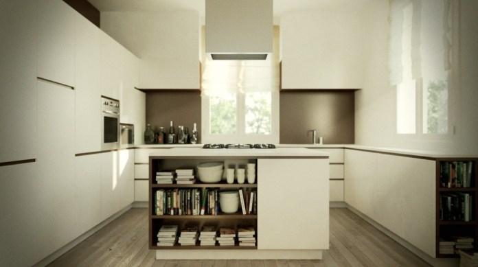 Elegant-Modern-Kitchen-Island-Design-with-Bookcase