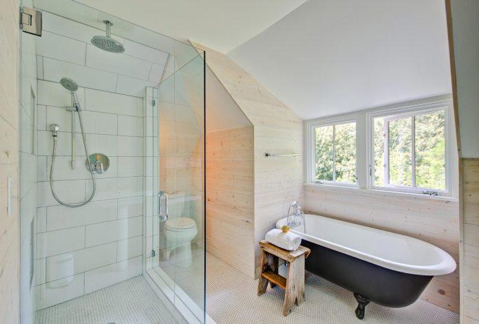 Shower and Tub in Modern Farmhouse Bathroom