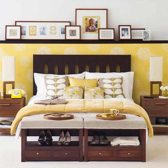 Yellow hotel chic bedroom