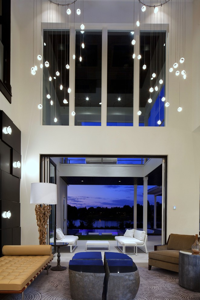 lighting-for-high-ceilings-Living-Room-Modern-with-area-rug-art-work